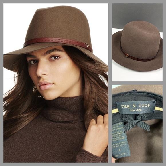 32fe47bca rag & bone 100% wool pecan Floppy Brim Fedora Hat